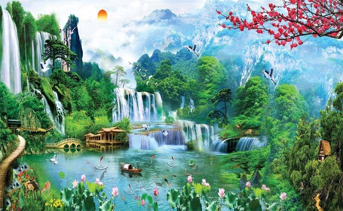 Tranh thêu Sơn Thủy Hữu Tình tnc08