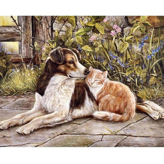 tranh thêu tay con chó
