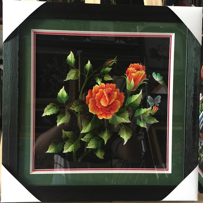 Tranh thêu hoa hồng tnc0654